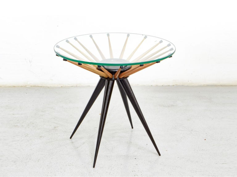 Mid-Century Modern 1960s Brazilian Side Table in Wood, by Giuseppe Scapinelli