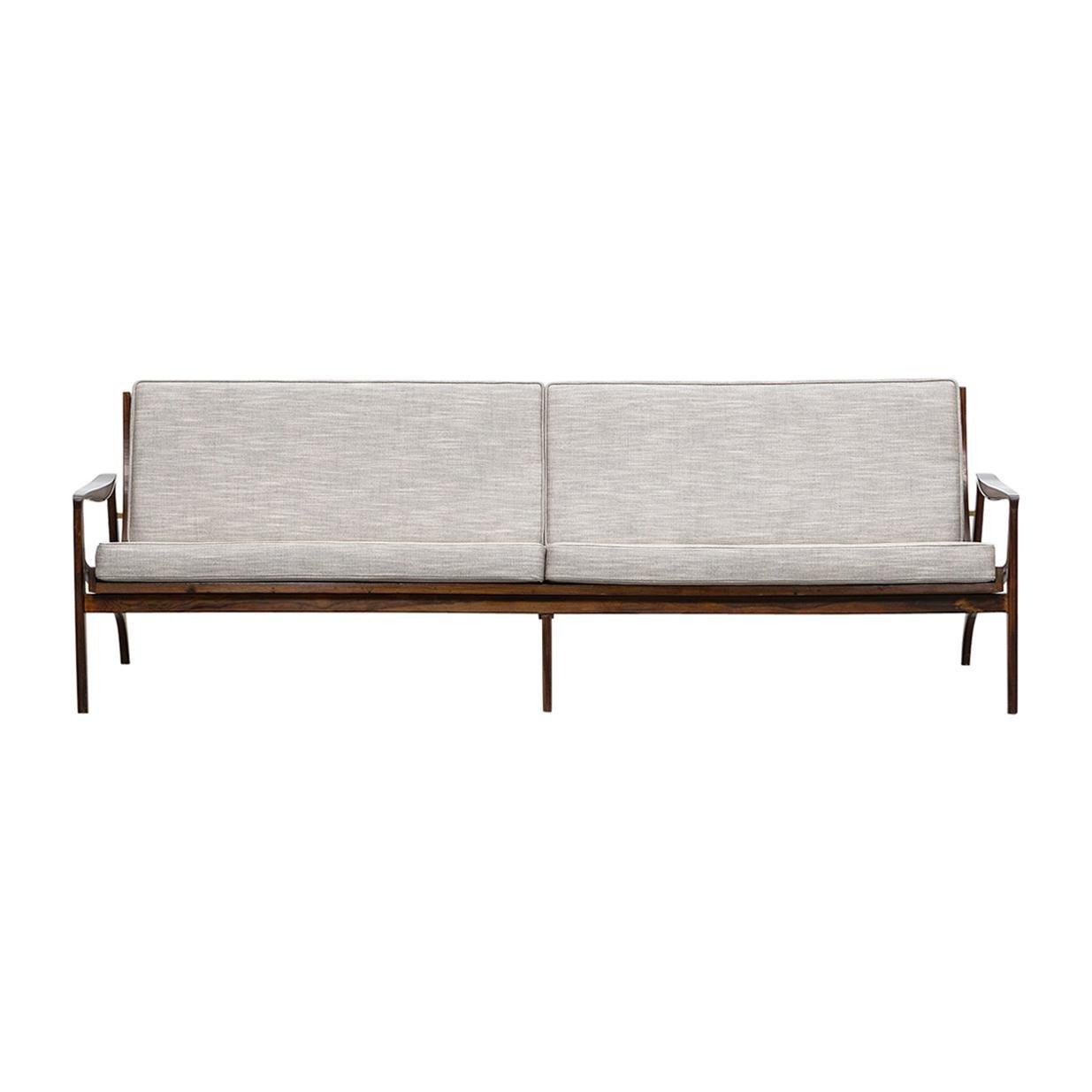 1960s Brazilian Sofa in Jacaranda, New Upholstery