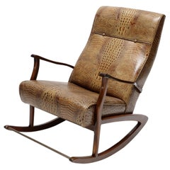1960s Brazilian Wooden Rocking Chair in Brown Crocodile Embossed Leather