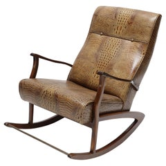 1960s Brazilian Wooden Rocking Chair in Crocodile Embossed Leather