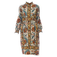 1960'S Brenner Couture Wool Twill Indian Floral Print Dress