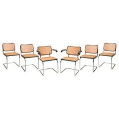 1960s Breuer for Gavina Cane Seat Tubular Steel Cesca 4 Chairs 2 Armchairs
