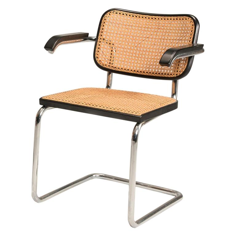 1960s Breuer for Gavina Cane Seat Tubular Steel Cesca Two Armchairs