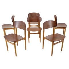 1960s Børge Mogensen Model 122 Oak and Teak Dining Chairs for Søborg Møbelfabric
