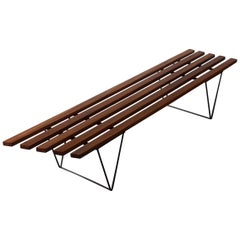 1960s Brianco Bench Seat or Coffee Table in Solid Mahogany and Steel