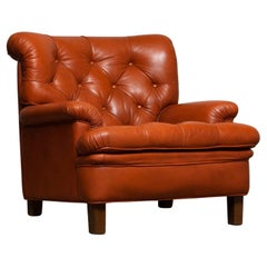 1960s Brique Jupiter Leather Chesterfield Club Lounge Armchair by Arne Norell