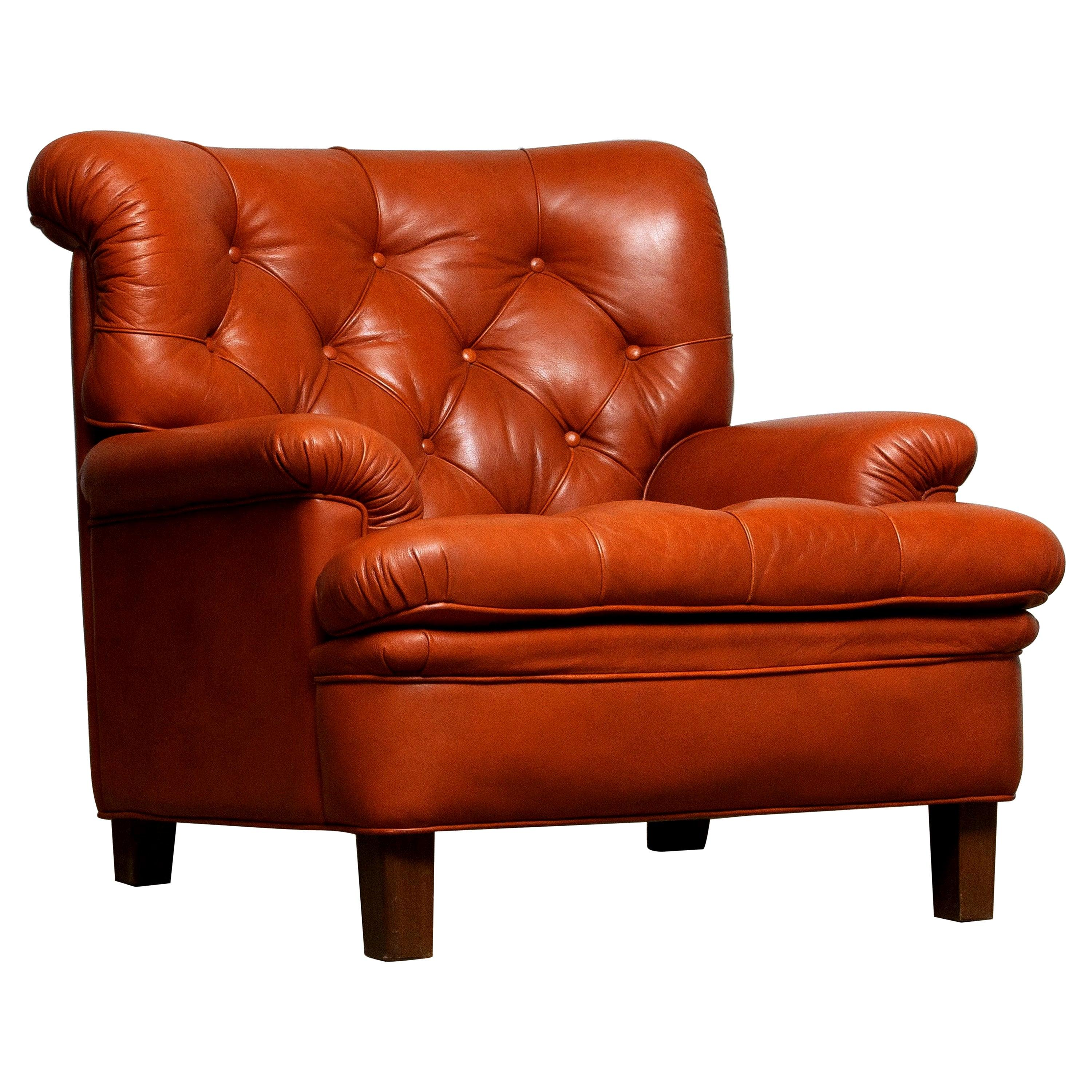 1960s Brique Quilted Leather Chesterfield Armchair by Arne Norell, Model Jupiter