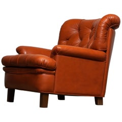 1960s Brique Quilted Leather Club / Easy / Lounge / Armchair by Arne Norell