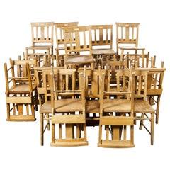 1960s British Beech Church, Chapel Dining Chairs, Pub Lot of Thirty Chairs