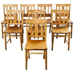1960s British Beech Church, Chapel Dining Chairs, Set of Eight