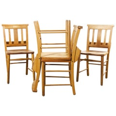 1960s British Beech Church, Chapel Dining Chairs, Set of Four