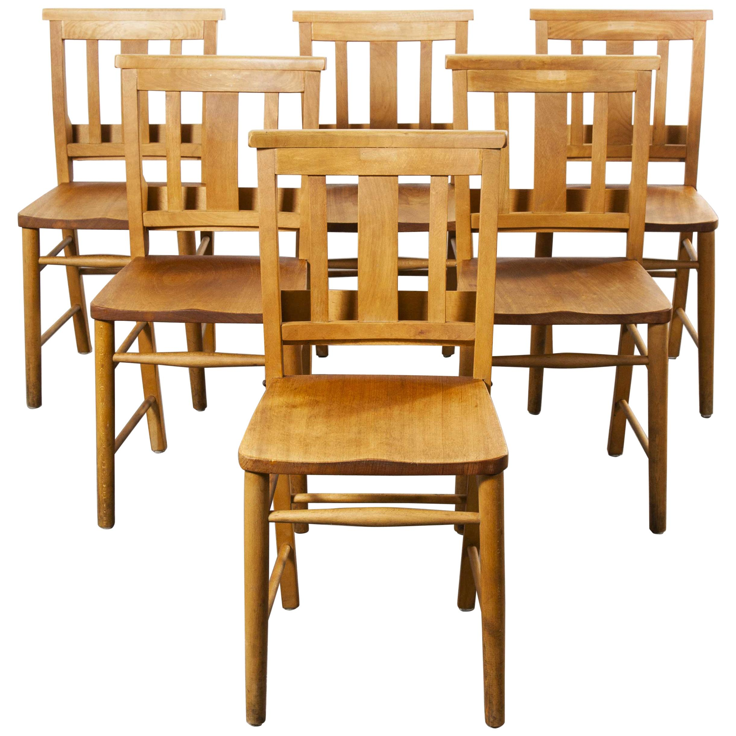 1960s British Beech Church, Chapel Dining Chairs, Set of Six