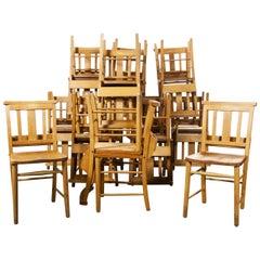 1960s British Beech Church, Chapel Dining Chairs, Set of Twenty Four
