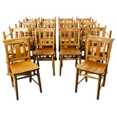 1960s British Beech Church, Chapel Dining Chairs, Various Qty Available