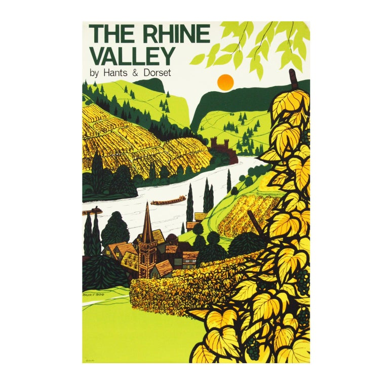 1960s British Coach Travel Poster German Rhine Valley Landscape In Good Condition For Sale In Nottingham, Nottinghamshire