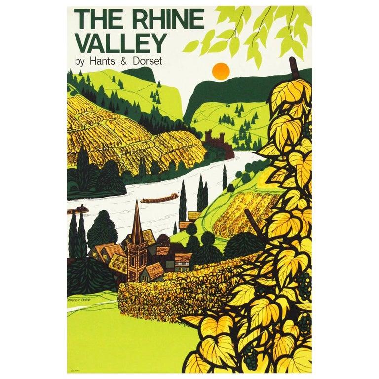 1960s British Coach Travel Poster German Rhine Valley Landscape For Sale