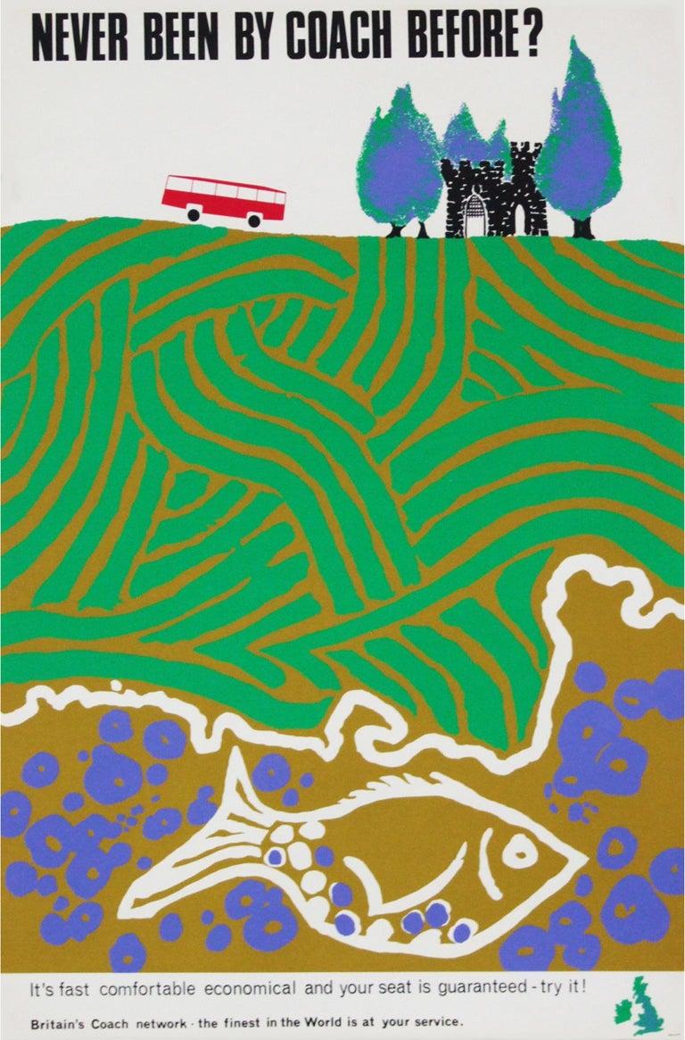 Mid-Century Modern 1960s British Coach Travel Poster Landscape Wildlife Midcentury Pop Art For Sale