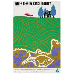 1960s British Coach Travel Poster Landscape Wildlife Midcentury Pop Art