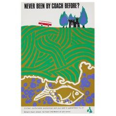 1960s British Coach Travel Poster Landscape Wildlife Midcentury Pop Art