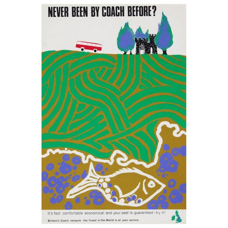 1960s British Coach Travel Poster Landscape Wildlife Midcentury Pop Art For Sale