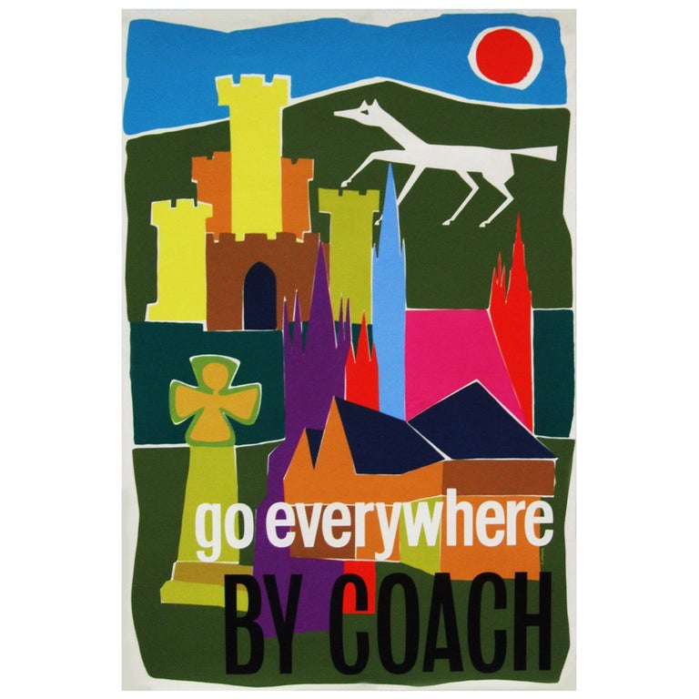 Original 1960s coach travel promotional poster designed by G.Atkins for The Tilling Association, UK.  First edition color offset lithograph.  Rolled.  Measures: L 76cm x W 50.5cm.