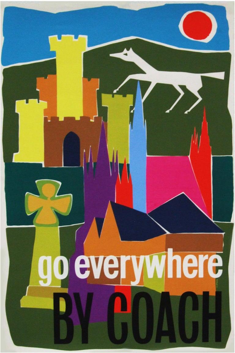 Mid-Century Modern 1960s British Coach Travel Poster Pop Art Illustration Design For Sale