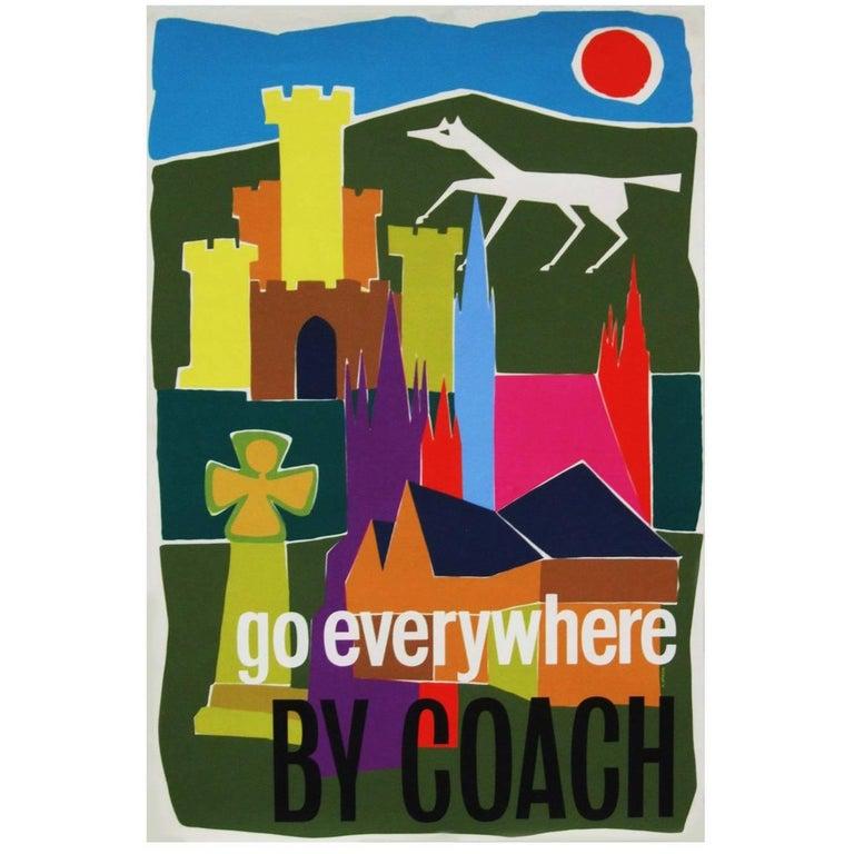 1960s British Coach Travel Poster Pop Art Illustration Design In Good Condition For Sale In Nottingham, Nottinghamshire
