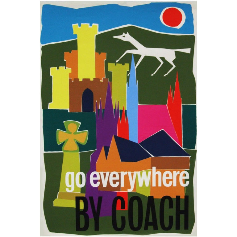 1960s British Coach Travel Poster Pop Art Illustration Design For Sale