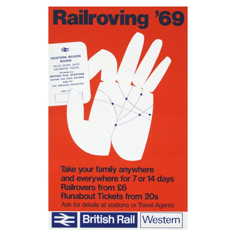 1969 Promotional travel poster for British Rail, UK.   Rolled.  Measures: L 102cm x W 64cm.
