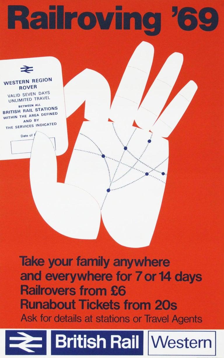Mid-Century Modern 1960s British Rail Travel Poster Rail Roving, 1969 Pop Art For Sale