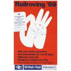 1960s British Rail Travel Poster Rail Roving, 1969 Pop Art