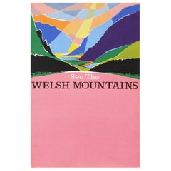 1960s British Transport Welsh Mountains Travel Poster Wales Landscape Art Pink
