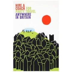 1960s British Travel Coach Poster Pop Art Design 'Roof Tops'