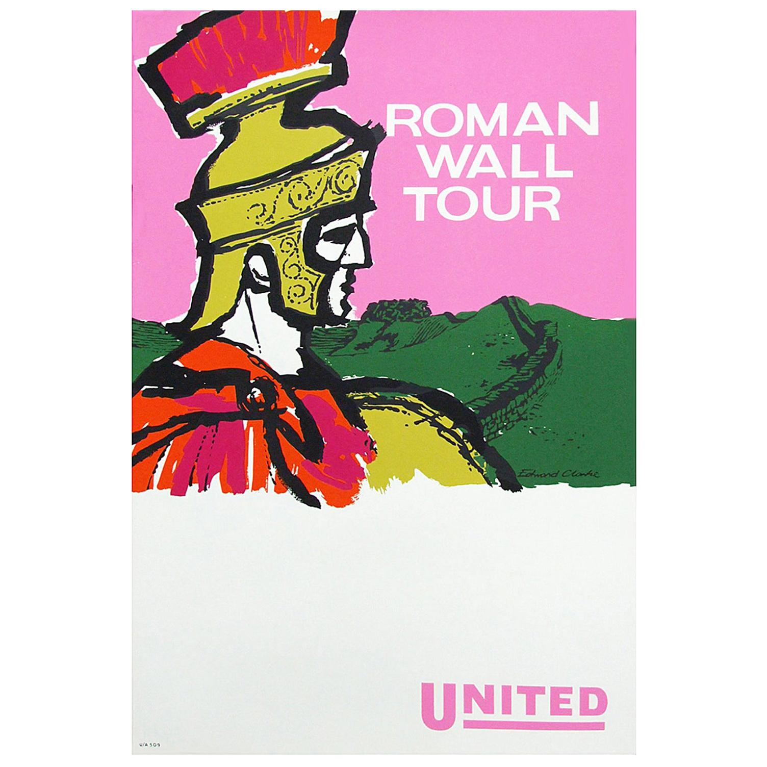 1960s British Travel Poster Roman Wall Tour Designed by Edward Clarke