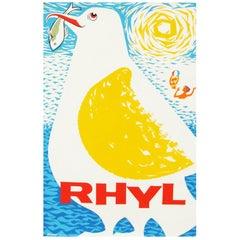 1960s British Wales Rhyl Travel Poster Bird Seagull Design