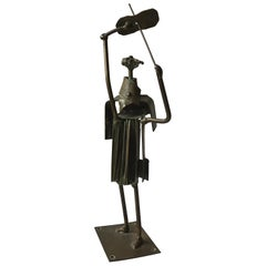 1960s Bronze Abstract Sculpture of a Violinist, Signed Hw
