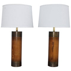 1960s Bronze and Oak Table Lamps by Westwood