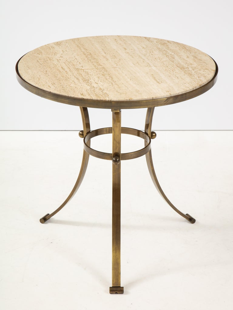 Stunning 1960s bronze with travertine top tripod large side table/Game table from Spain.