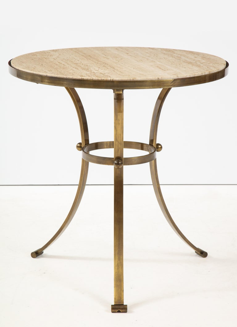 Mid-Century Modern 1960s Bronze and Travertine Game Table from Spain For Sale