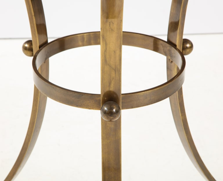 Spanish 1960s Bronze and Travertine Game Table from Spain For Sale