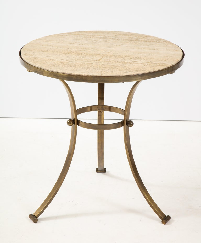 1960s Bronze and Travertine Game Table from Spain In Good Condition For Sale In New York City, NY