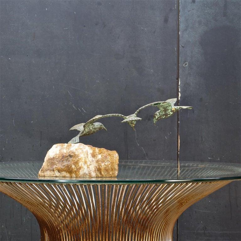 Mid-Century Modern 1960s Bronze Birds Table Sculpture White Onyx Base Midcentury Hollywood Regency For Sale