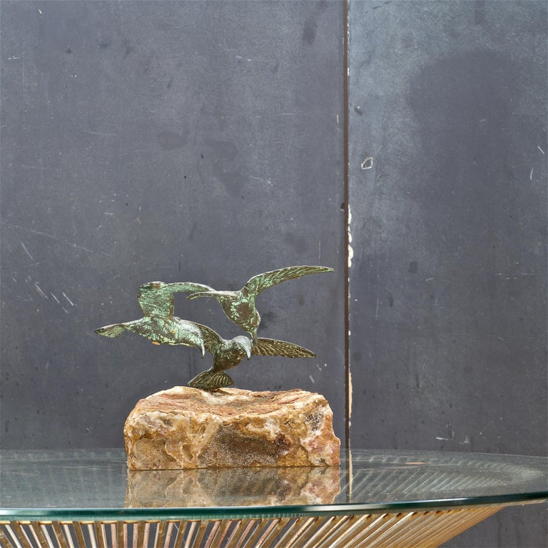 1960s Bronze Birds Table Sculpture White Onyx Base Midcentury Hollywood Regency In Fair Condition For Sale In Washington, DC