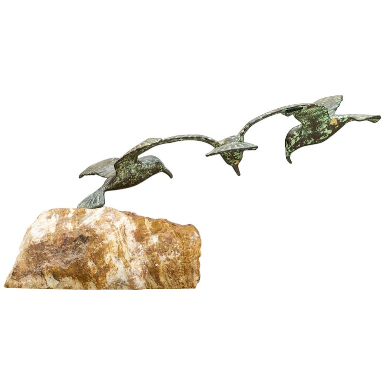 1960s Bronze Birds Table Sculpture White Onyx Base Midcentury Hollywood Regency For Sale