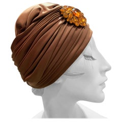 1960s Bronze Satin Turban Hat W/ Large Amber Cabochon Brooch