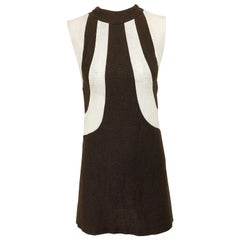 1960s Brown and Ivory Linen Space Age Vintage 60s Mod Mini Shift Dress