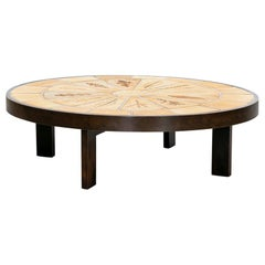 1960s Brown, Beige Ceramic Coffee Table by Roger Capron