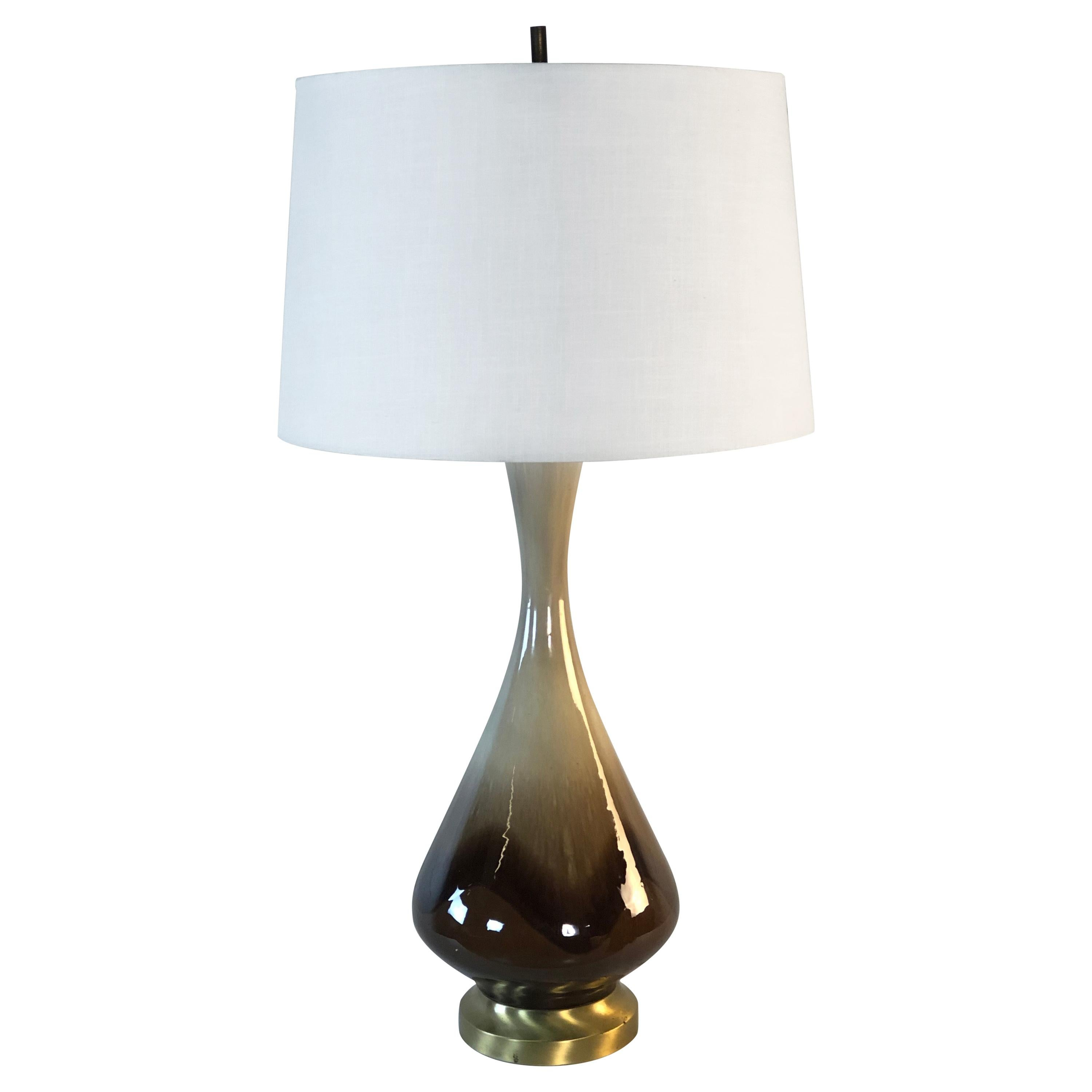 1960s Brown Drip Glaze Table Lamp