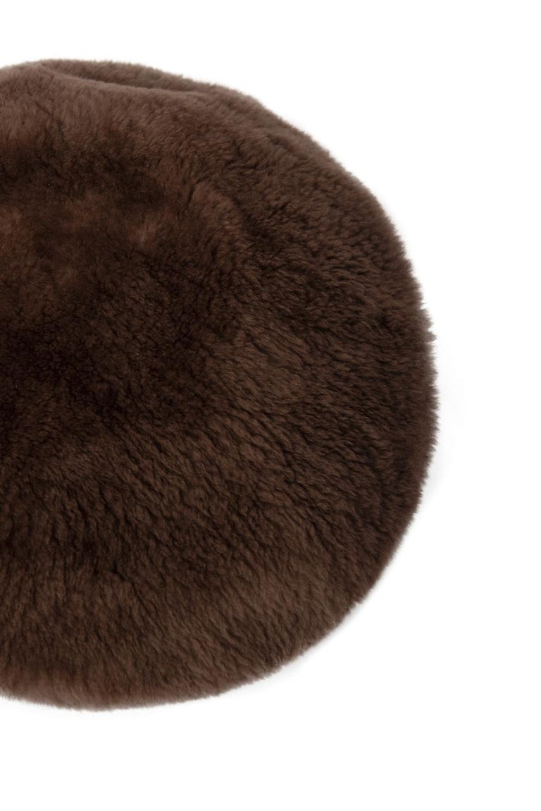 1960s Brown Genuine Sheared Beaver Fur Beret For Sale 1