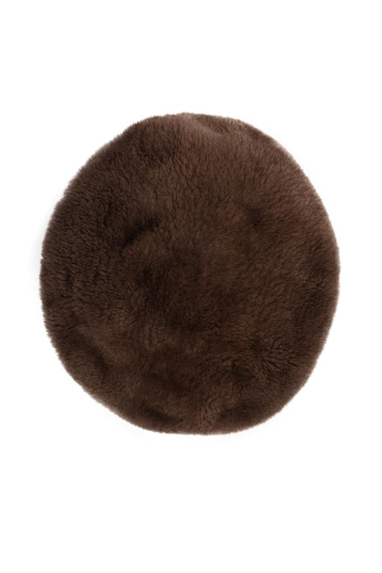 1960s Brown Genuine Sheared Beaver Fur Beret For Sale 2